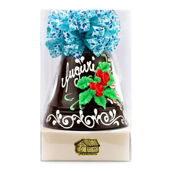 Campana di Cioccolato Extra Fondente Decorata a Mano